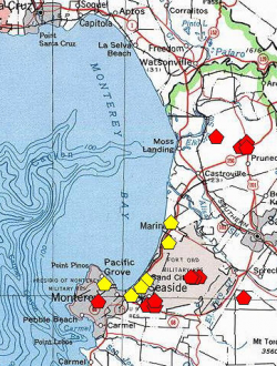 A red polygon indicates an extant occurrence; yellow indicates the occurrence has been extirpated.
